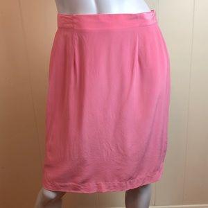 Vintage 80s Pink Coral Silk Career Pencil Skirt